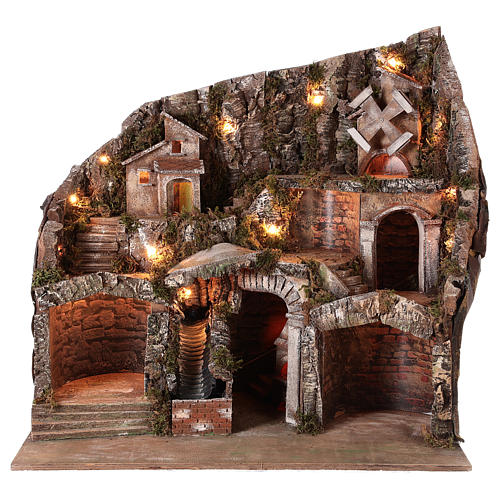 Nativity scene setting with water stream and moving mill for 8-10 cm Neapolitan Nativity scene 65x65x55 cm 1
