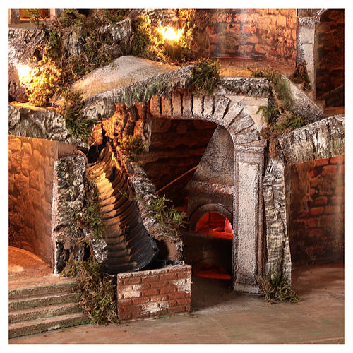 Nativity scene setting with water stream and moving mill for 8-10 cm Neapolitan Nativity scene 65x65x55 cm 2