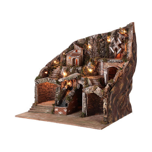 Nativity scene setting with water stream and moving mill for 8-10 cm Neapolitan Nativity scene 65x65x55 cm 3