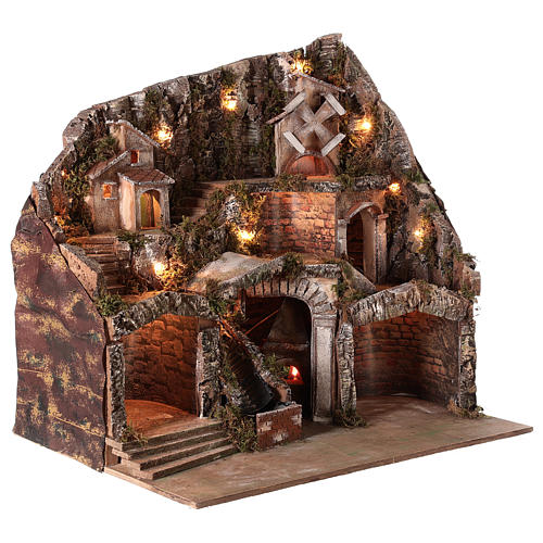 Nativity scene setting with water stream and moving mill for 8-10 cm Neapolitan Nativity scene 65x65x55 cm 5