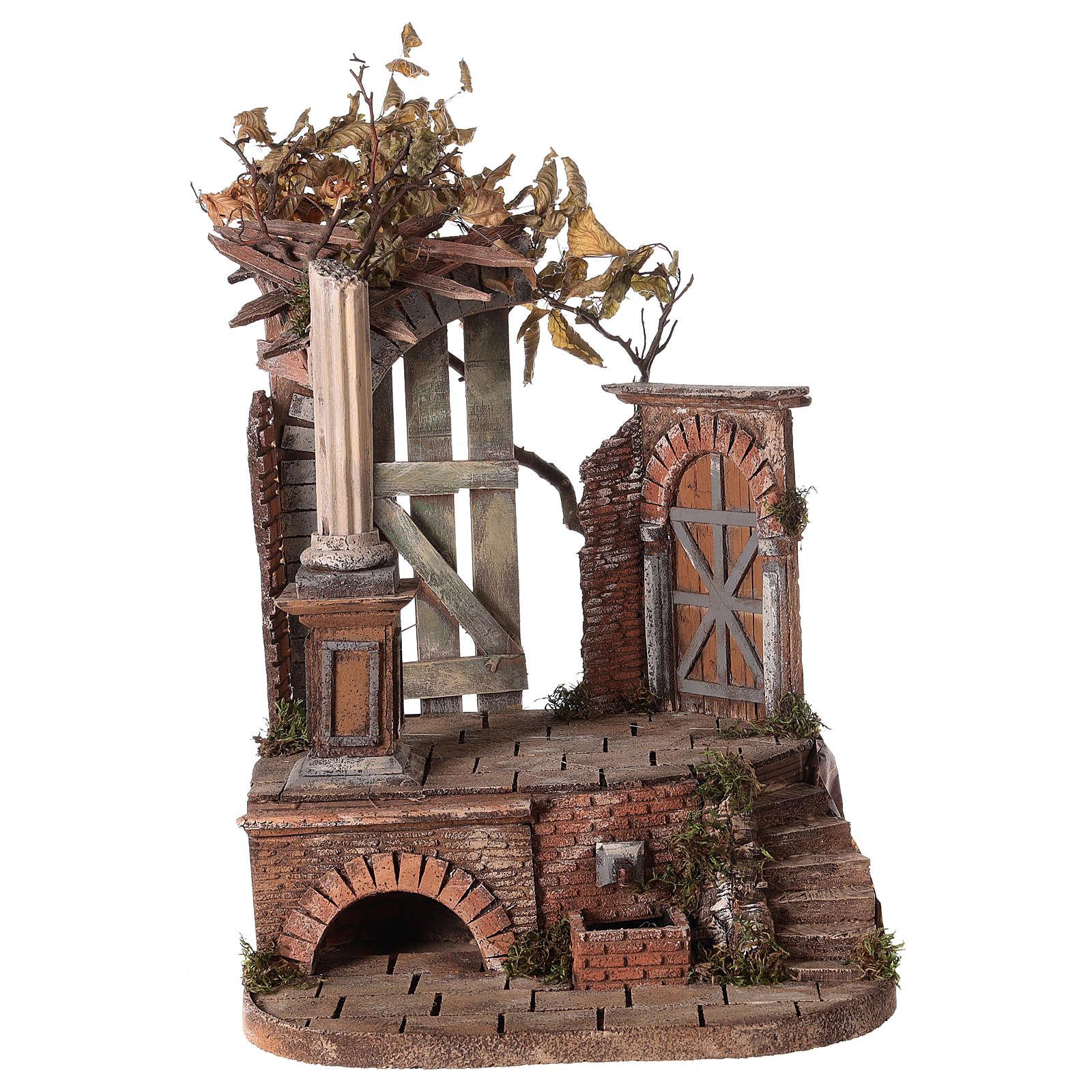 Tempio romano con fontana 55x35x40 presepe napoletano 12-14-16 cm 4