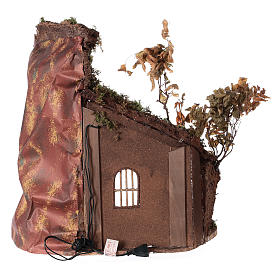 Shack with door and light for 24 cm Neapolitan Nativity scene 55x50x35 cm s5