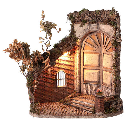 Shack with door and light for 24 cm Neapolitan Nativity scene 55x50x35 cm 1