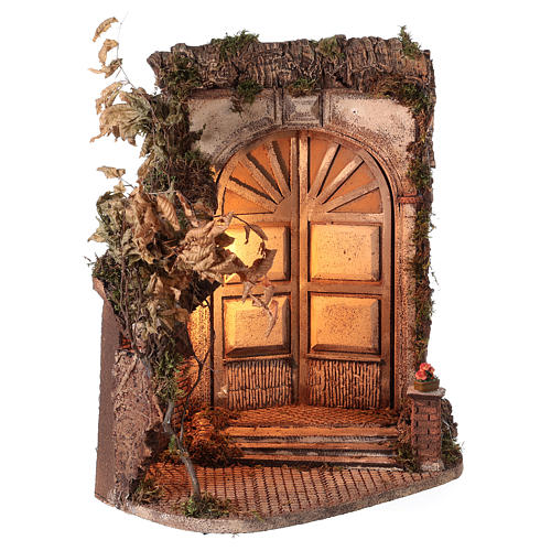 Shack with door and light for 24 cm Neapolitan Nativity scene 55x50x35 cm 4