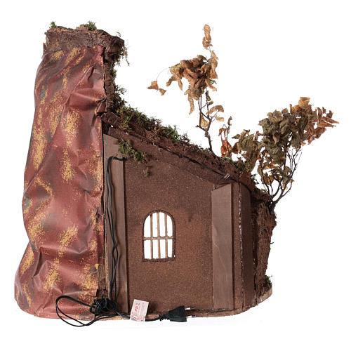 Shack with door and light for 24 cm Neapolitan Nativity scene 55x50x35 cm 5