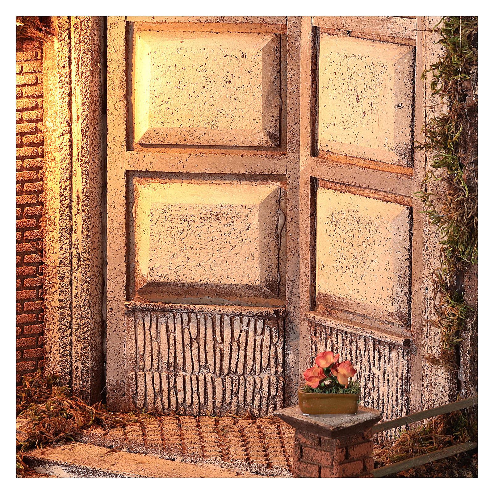 Cabaña con puerta y luz 55x50x35 belén napolitano 24 cm 4