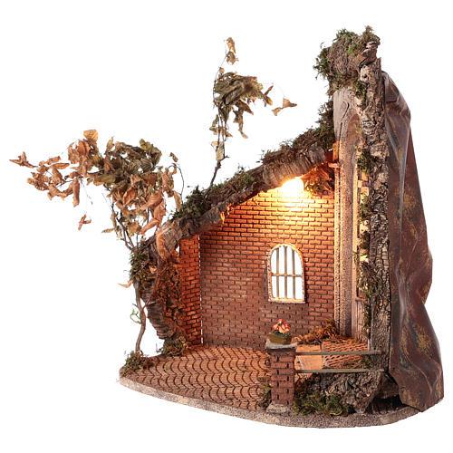 Cabaña con puerta y luz 55x50x35 belén napolitano 24 cm 3