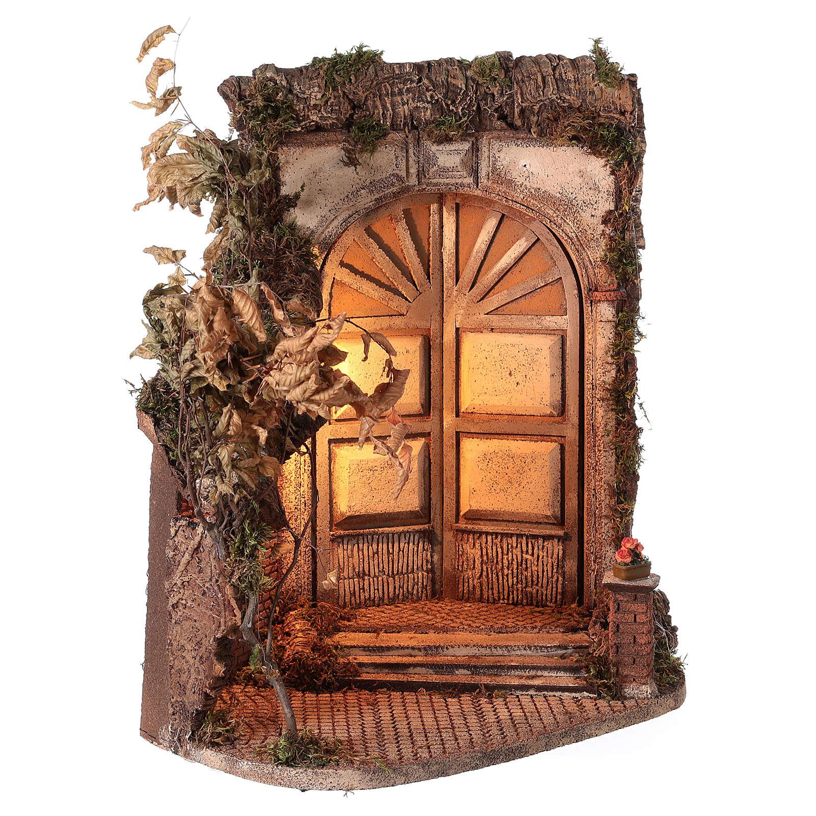 Capanna con porta e luce 55x50x35 presepe napoletano 24 cm 4