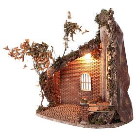 Capanna con porta e luce 55x50x35 presepe napoletano 24 cm s3