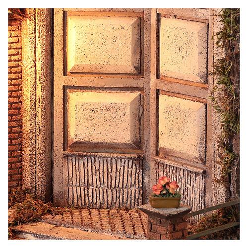 Capanna con porta e luce 55x50x35 presepe napoletano 24 cm 2
