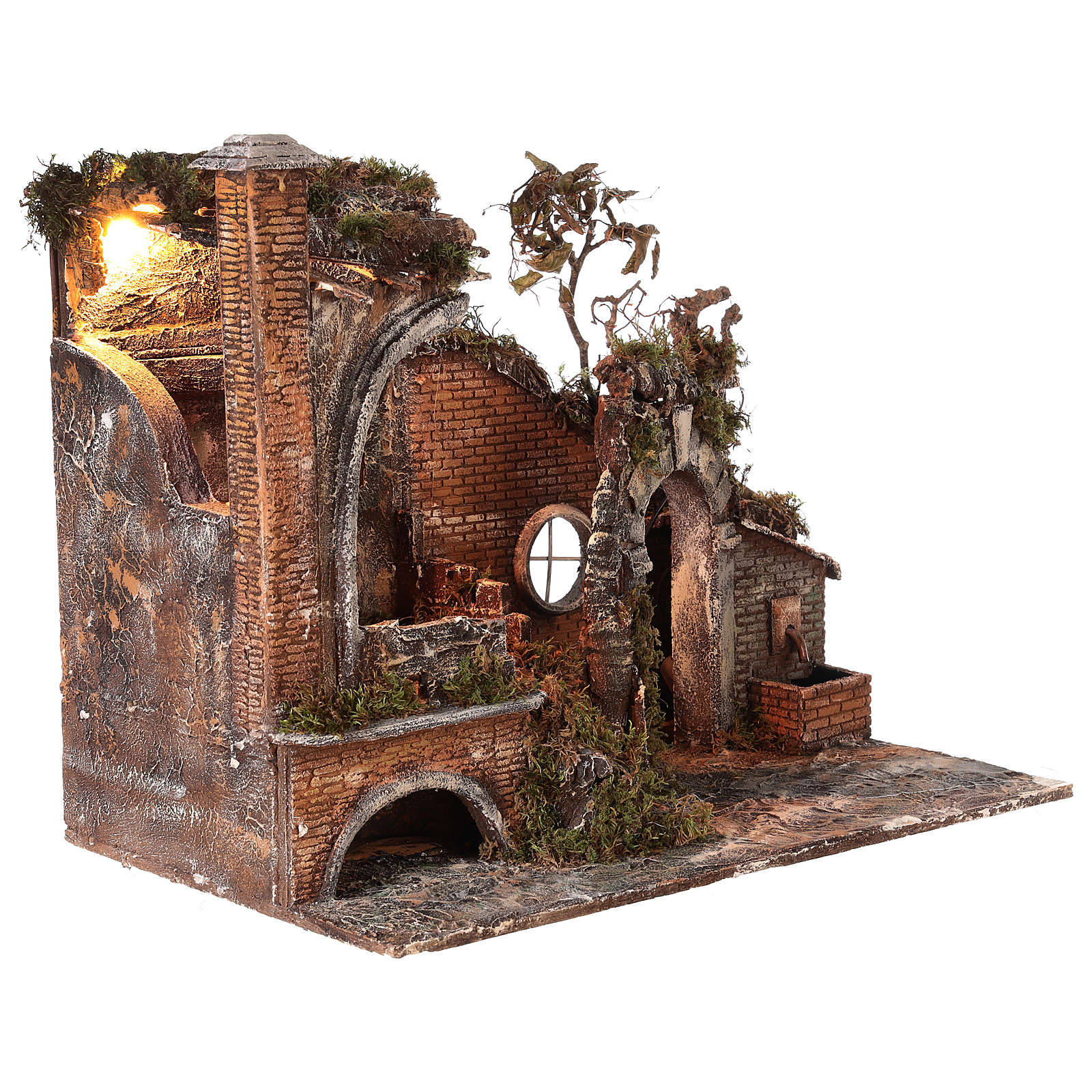 Ancient temple with light and fountain for 18-24 cm Neapolitan Nativity scene 55x65x40 cm 4