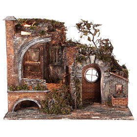 Neapolitan Nativity Scene: Ancient temple with light and fountain for 18-24 cm Neapolitan Nativity scene 55x65x40 cm