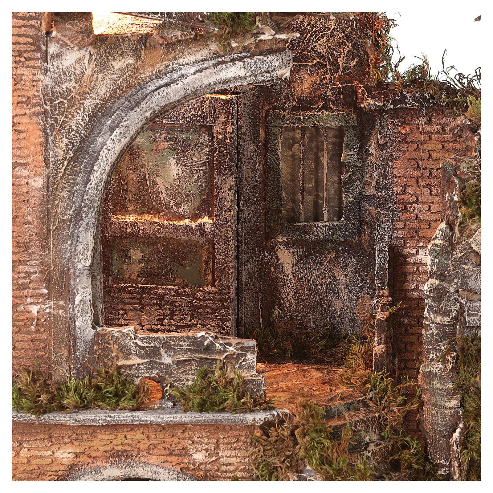 Tempio antico con luce e fontana 55x65x40 presepe napoletano 18-24 cm 4