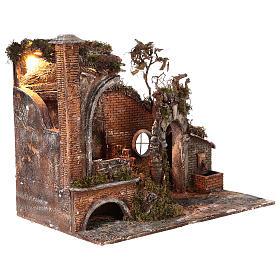 Tempio antico con luce e fontana 55x65x40 presepe napoletano 18-24 cm s4