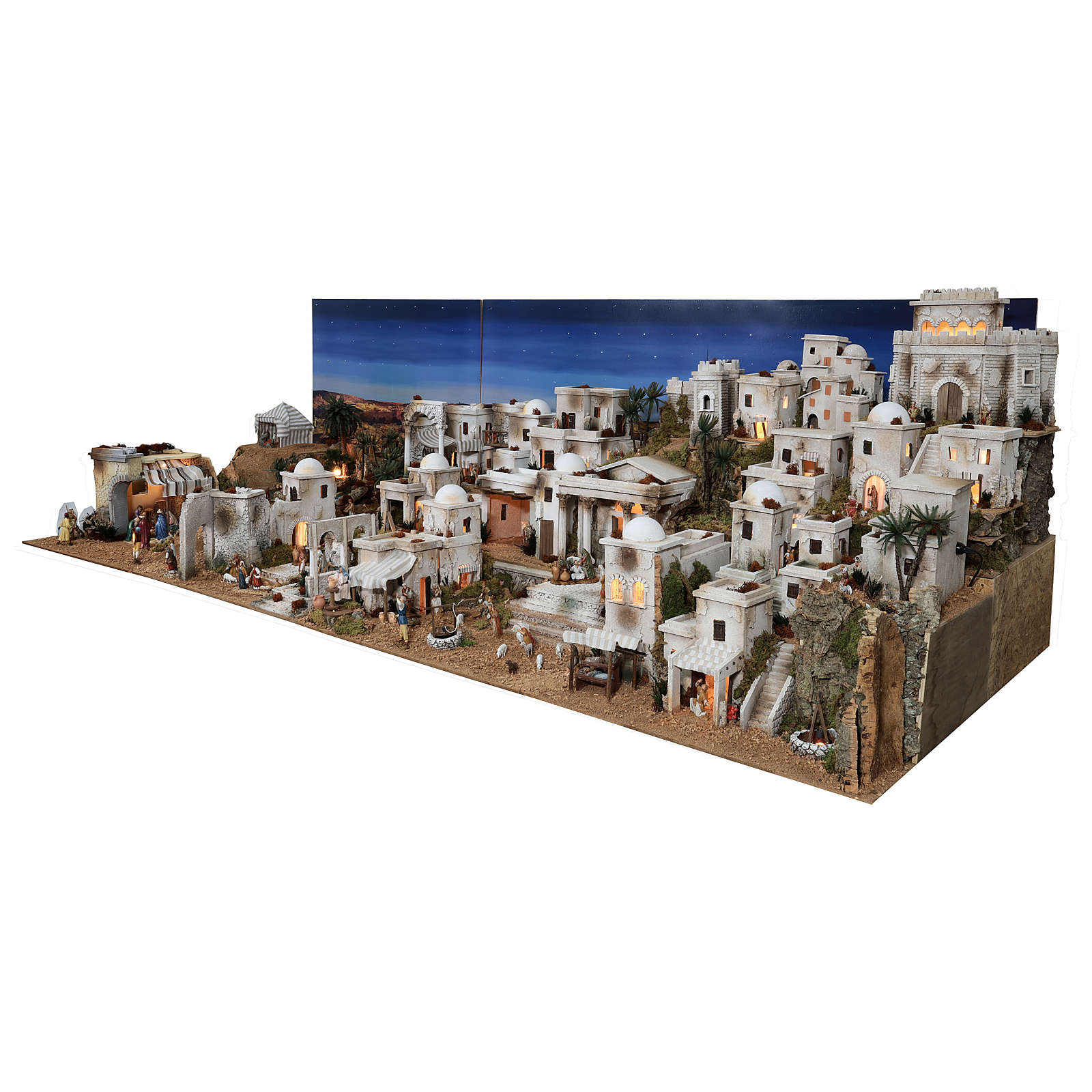 Complete Nativity scene with historical Palestinian setting 100x320x120 cm Moranduzzo statues 4