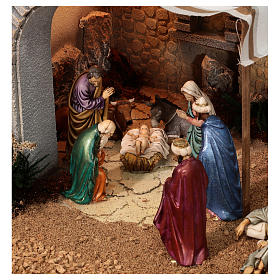 Complete Nativity scene with historical Palestinian setting 100x320x120 cm Moranduzzo statues s2