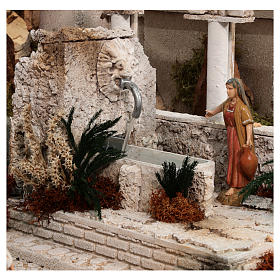 Complete Nativity scene with historical Palestinian setting 100x320x120 cm Moranduzzo statues s7