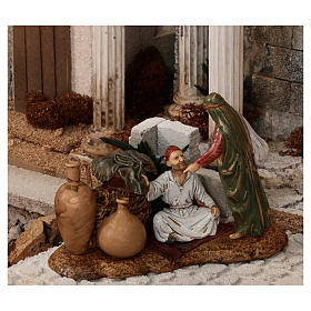Complete Nativity scene with historical Palestinian setting 100x320x120 cm Moranduzzo statues s10