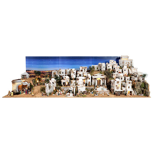 Complete Nativity scene with historical Palestinian setting 100x320x120 cm Moranduzzo statues 1