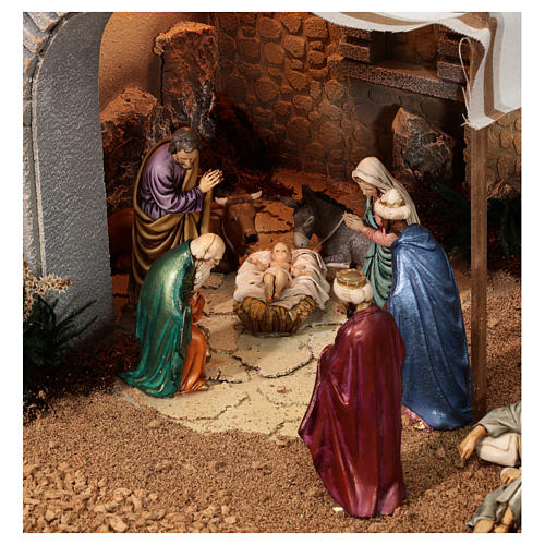 Complete Nativity scene with historical Palestinian setting 100x320x120 cm Moranduzzo statues 2