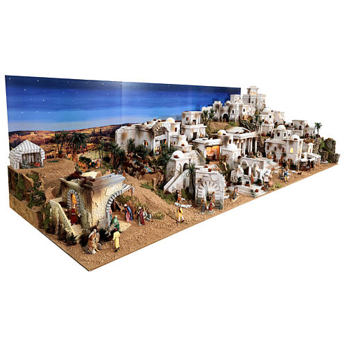 Complete Nativity scene with historical Palestinian setting 100x320x120 cm Moranduzzo statues 3