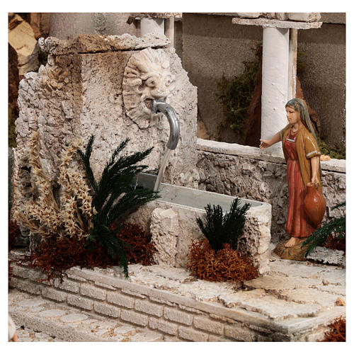 Complete Nativity scene with historical Palestinian setting 100x320x120 cm Moranduzzo statues 7