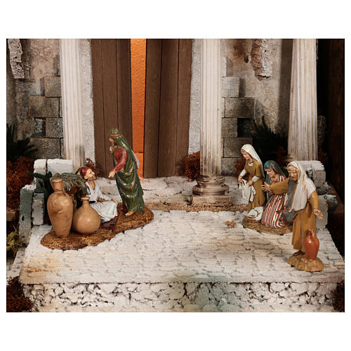 Complete Nativity scene with historical Palestinian setting 100x320x120 cm Moranduzzo statues 8