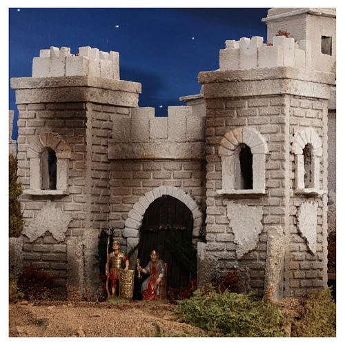 Complete Nativity scene with historical Palestinian setting 100x320x120 cm Moranduzzo statues 9