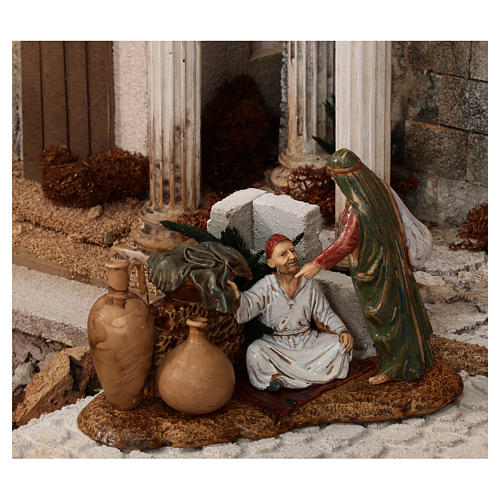 Complete Nativity scene with historical Palestinian setting 100x320x120 cm Moranduzzo statues 10