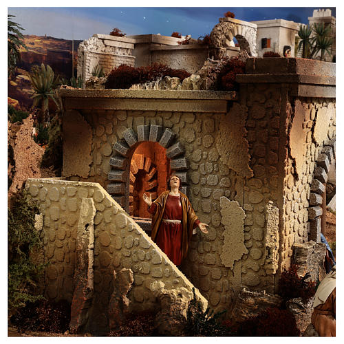 Complete Nativity scene with historical Palestinian setting 100x320x120 cm Moranduzzo statues 12