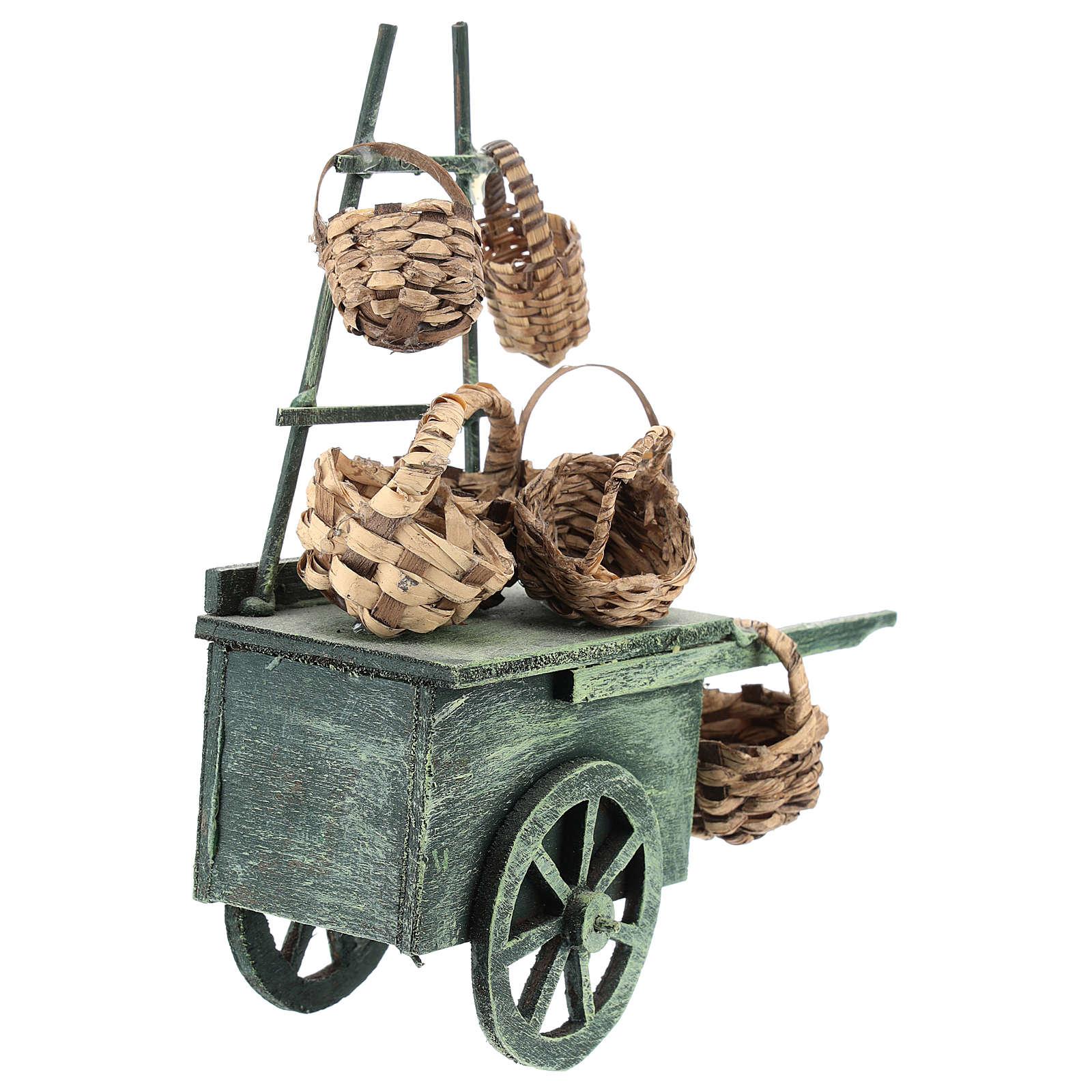 Carro vendedor cestas para belén napolitano de 6-8 cm 4