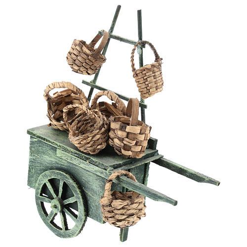 Carro vendedor cestas para belén napolitano de 6-8 cm 1