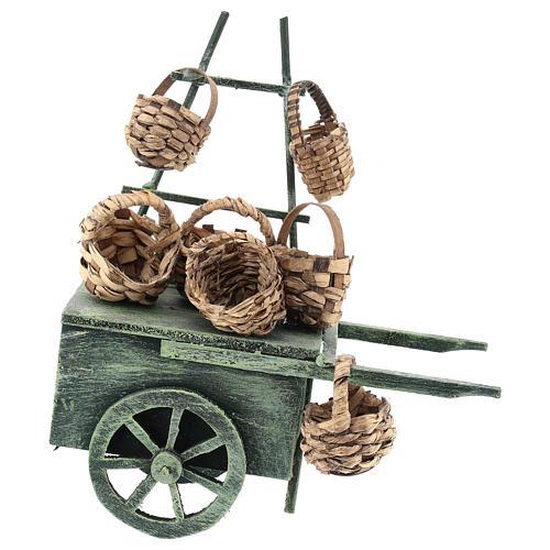 Carro vendedor cestas para belén napolitano de 6-8 cm 3