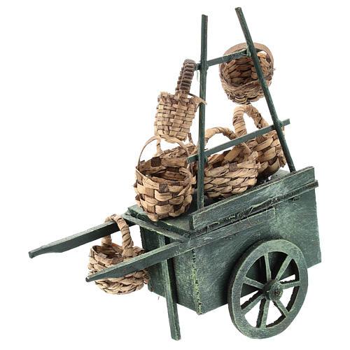 Carro venditore panieri per presepe napoletano di 6-8 cm 2