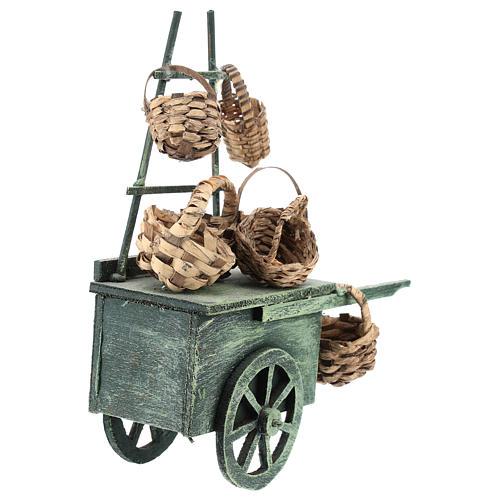 Carro venditore panieri per presepe napoletano di 6-8 cm 4