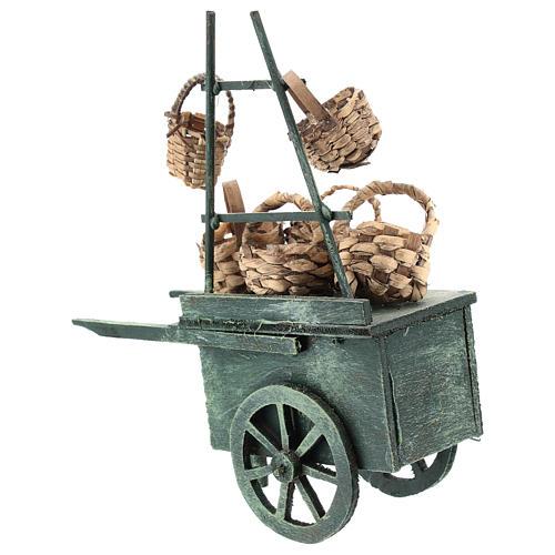 Carro venditore panieri per presepe napoletano di 6-8 cm 5