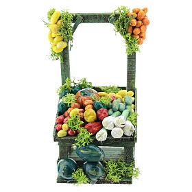 Banco frutta e verdura per presepe napoletano di 6-8 cm s1