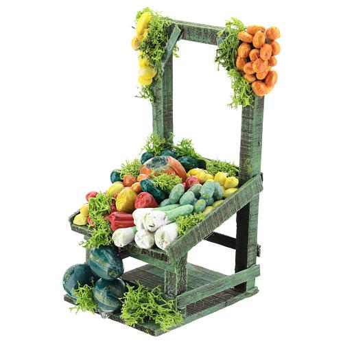 Banco frutta e verdura per presepe napoletano di 6-8 cm 2