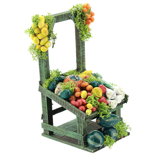 Banco frutta e verdura per presepe napoletano di 6-8 cm 3