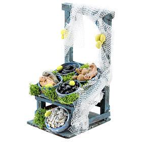 Banco inclinato pesce in tinozze per presepe napoletano di 6-8 cm s2