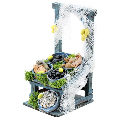 Banco inclinato pesce in tinozze per presepe napoletano di 6-8 cm 2