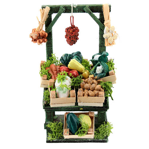 Titled vegetable stand with boxes for Neapolitan Nativity Scene of 6-8 cm 1