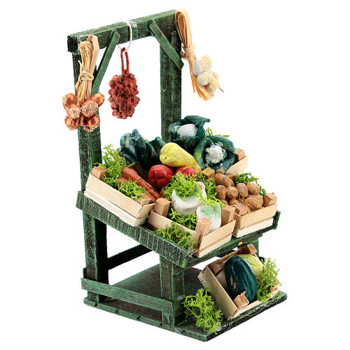 Titled vegetable stand with boxes for Neapolitan Nativity Scene of 6-8 cm 3