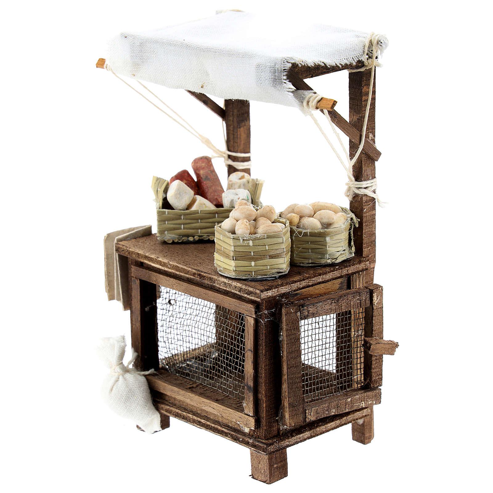 Banco venditore di uova per presepe napoletano di 6-8 cm 4
