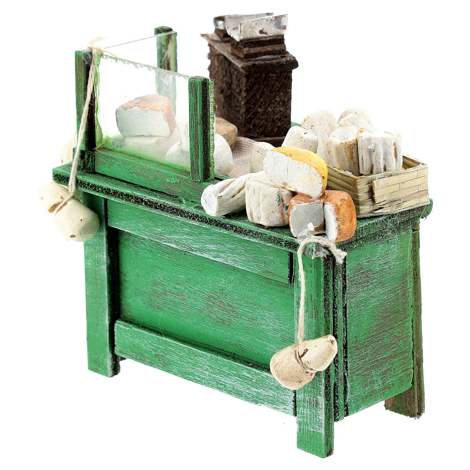 Banco venditore formaggi per presepe napoletano di 6-8 cm 4