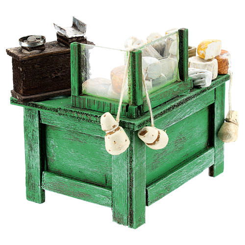 Banco venditore formaggi per presepe napoletano di 6-8 cm 3