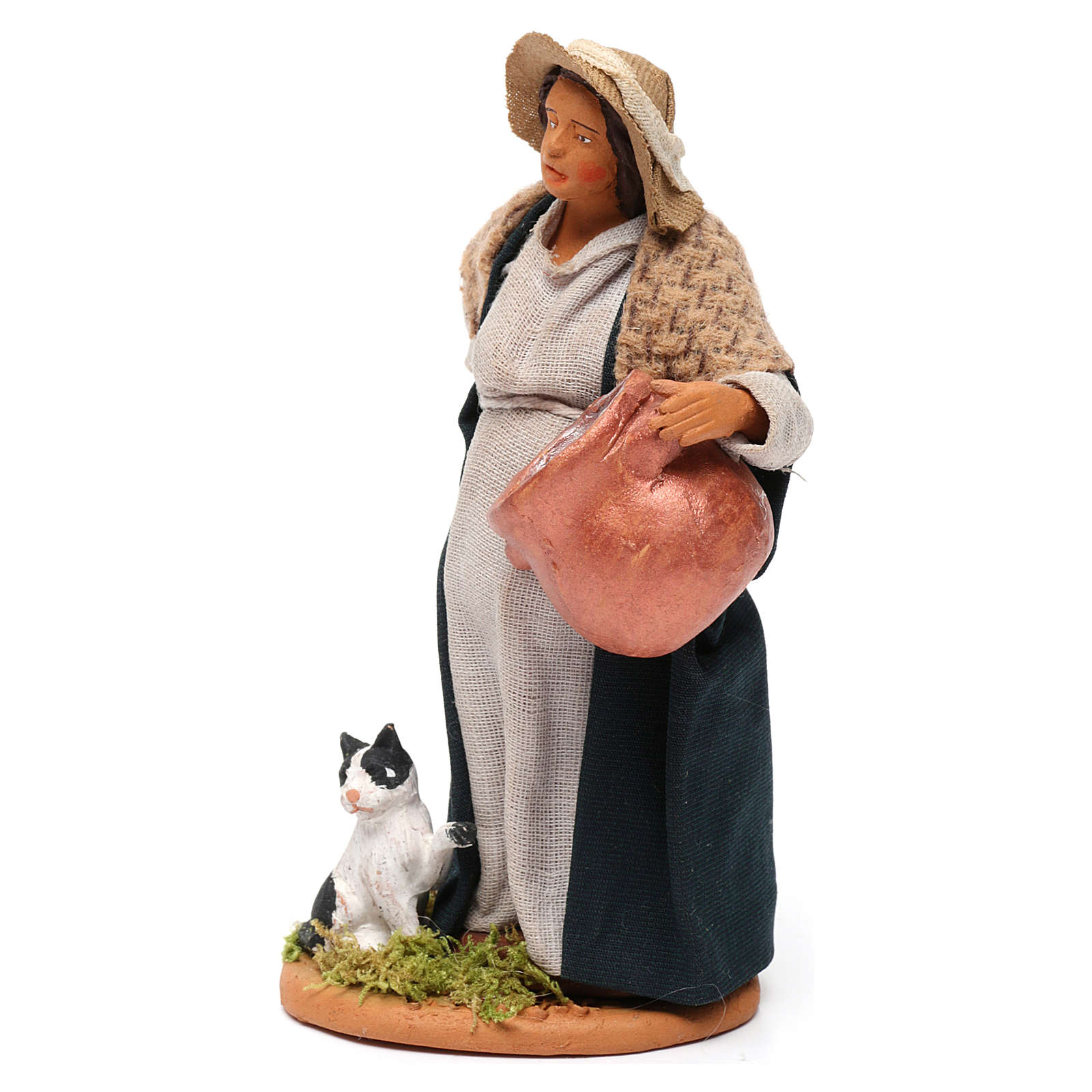 Pregnant shepherdess with pot and kitten for Neapolitan Nativity scene 12 cm 4