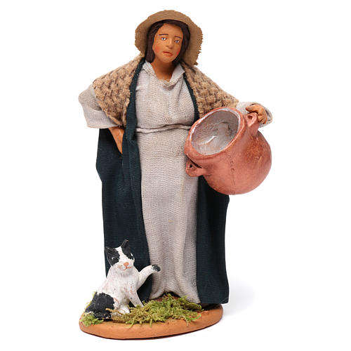 Pregnant shepherdess with pot and kitten for Neapolitan Nativity scene 12 cm 1