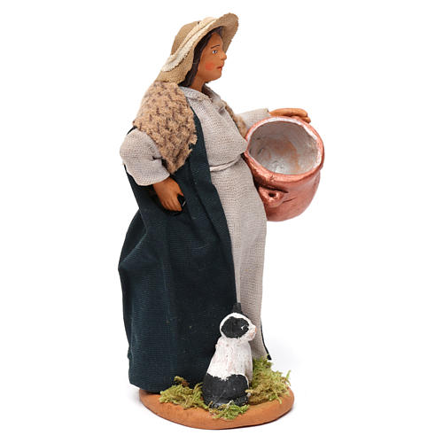 Pregnant shepherdess with pot and kitten for Neapolitan Nativity scene 12 cm 3