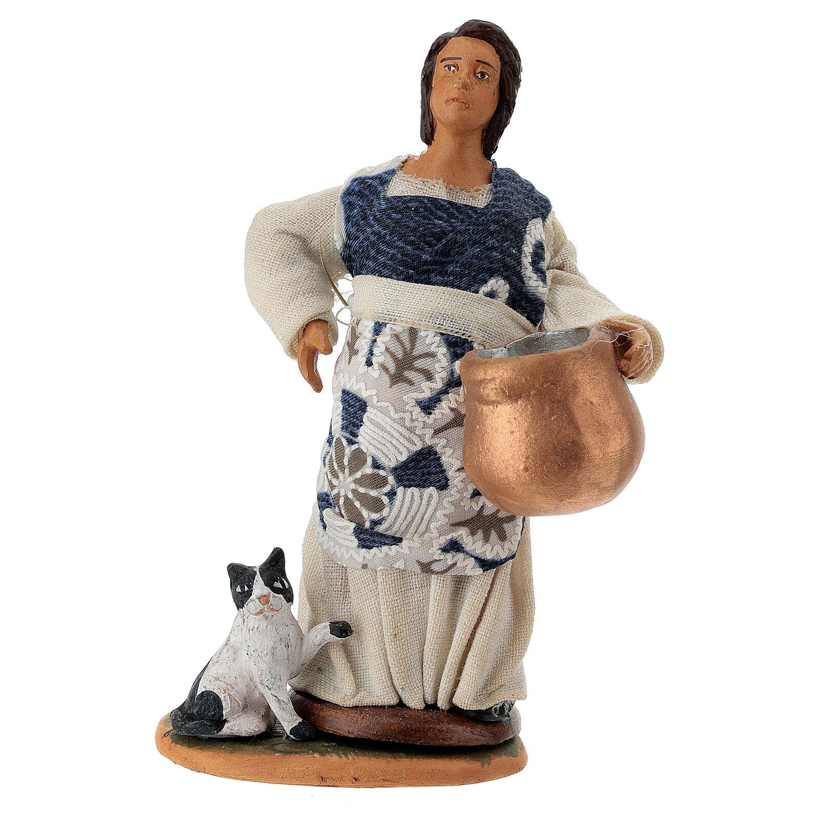 Pastora embarazada con olla y gato belén de Nápoles 12 cm de altura media 4